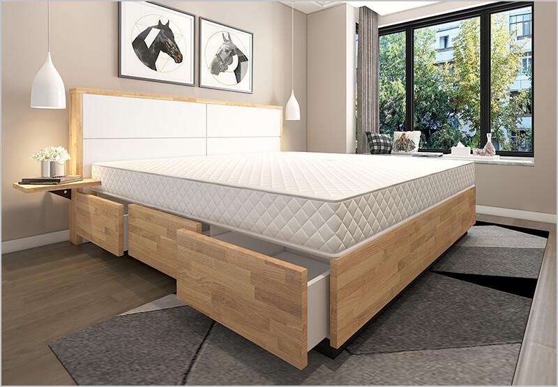Massivholz Wasserbett mit Leder Elementen